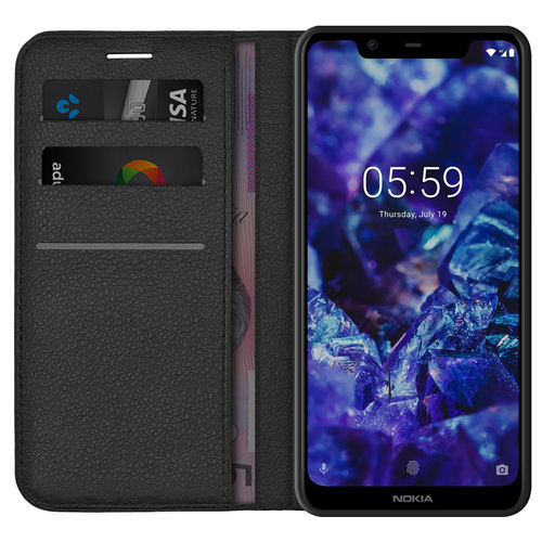 Leather Wallet Case & Card Slot Holder for Nokia 5.1 Plus - Black